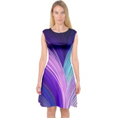 Color Purple Blue Pink Capsleeve Midi Dress