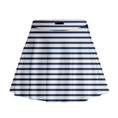 Horizontal Stripes Blue White Line Mini Flare Skirt
