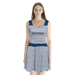 Horizontal Stripes Blue White Line Split Back Mini Dress