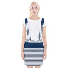 Horizontal Stripes Blue White Line Suspender Skirt