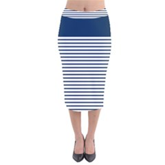 Horizontal Stripes Blue White Line Velvet Midi Pencil Skirt