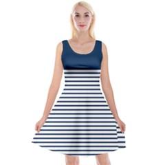Horizontal Stripes Blue White Line Reversible Velvet Sleeveless Dress