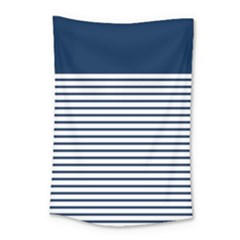 Horizontal Stripes Blue White Line Small Tapestry