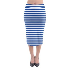 Horizontal Stripes Dark Blue Midi Pencil Skirt
