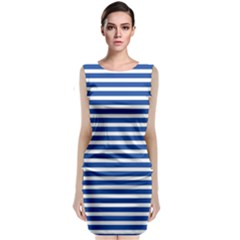 Horizontal Stripes Dark Blue Sleeveless Velvet Midi Dress