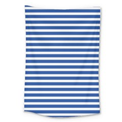 Horizontal Stripes Dark Blue Large Tapestry