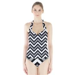 Zig zags pattern Halter Swimsuit