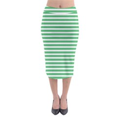 Horizontal Stripes Green Midi Pencil Skirt