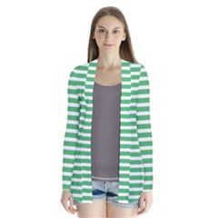 Horizontal Stripes Green Cardigans