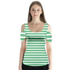 Horizontal Stripes Green Butterfly Sleeve Cutout Tee