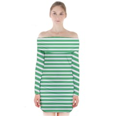 Horizontal Stripes Green Long Sleeve Off Shoulder Dress