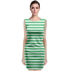 Horizontal Stripes Green Sleeveless Velvet Midi Dress