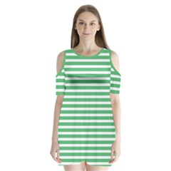 Horizontal Stripes Green Shoulder Cutout Velvet  One Piece