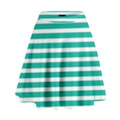 Horizontal Stripes Green Teal High Waist Skirt