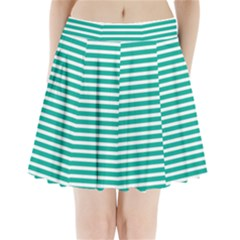 Horizontal Stripes Green Teal Pleated Mini Skirt