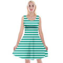 Horizontal Stripes Green Teal Reversible Velvet Sleeveless Dress