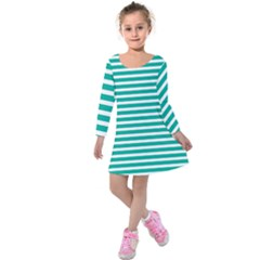 Horizontal Stripes Green Teal Kids  Long Sleeve Velvet Dress
