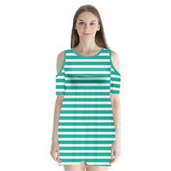 Horizontal Stripes Green Teal Shoulder Cutout Velvet  One Piece