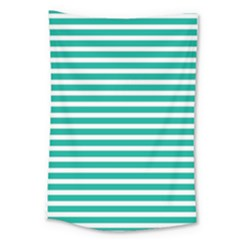Horizontal Stripes Green Teal Large Tapestry