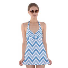 Zig zags pattern Halter Swimsuit Dress
