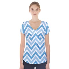 Zig zags pattern Short Sleeve Front Detail Top