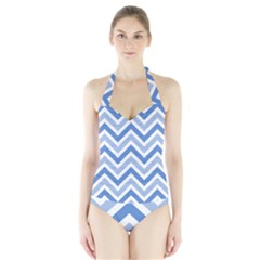 Zig zags pattern Halter Swimsuit