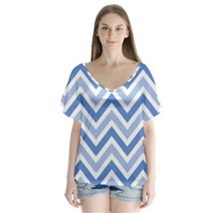 Zig zags pattern Flutter Sleeve Top