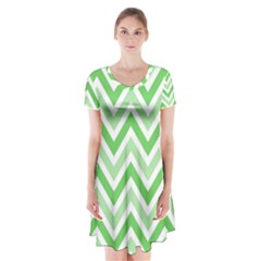 Zig zags pattern Short Sleeve V-neck Flare Dress