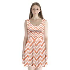 Zig zags pattern Split Back Mini Dress