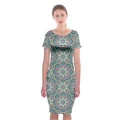 Decorative Ornamental Geometric Pattern Classic Short Sleeve Midi Dress