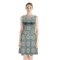 Decorative Ornamental Geometric Pattern Sleeveless Chiffon Waist Tie Dress