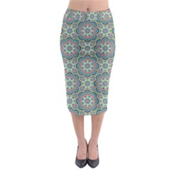 Decorative Ornamental Geometric Pattern Midi Pencil Skirt