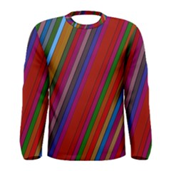 Color Stripes Pattern Men s Long Sleeve Tee