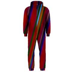 Color Stripes Pattern Hooded Jumpsuit (Men)