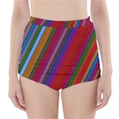 Color Stripes Pattern High Waisted Bikini Bottoms