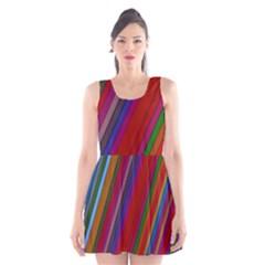 Color Stripes Pattern Scoop Neck Skater Dress