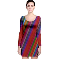 Color Stripes Pattern Long Sleeve Velvet Bodycon Dress