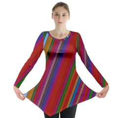 Color Stripes Pattern Long Sleeve Tunic