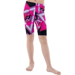 Star Of David On Black Kids  Mid Length Swim Shorts