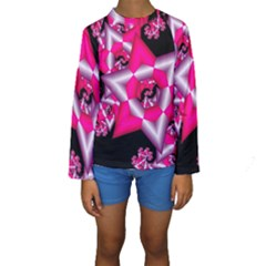 Star Of David On Black Kids  Long Sleeve Swimwear