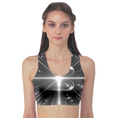 Black And White Bubbles On Black Sports Bra