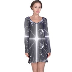 Black And White Bubbles On Black Long Sleeve Nightdress