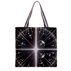 Black And White Bubbles On Black Zipper Grocery Tote Bag