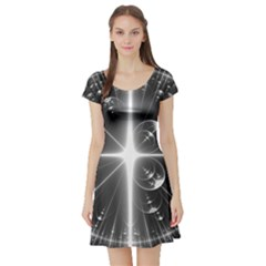 Black And White Bubbles On Black Short Sleeve Skater Dress