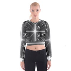 Black And White Bubbles On Black Women s Cropped Sweatshirt