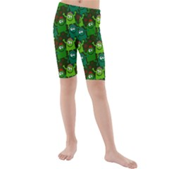 Seamless Little Cartoon Men Tiling Pattern Kids  Mid Length Swim Shorts