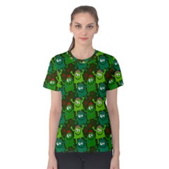 Seamless Little Cartoon Men Tiling Pattern Women s Cotton Tee