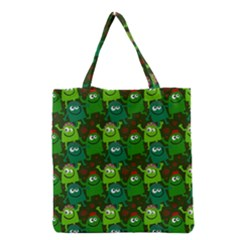 Seamless Little Cartoon Men Tiling Pattern Grocery Tote Bag