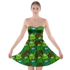 Seamless Little Cartoon Men Tiling Pattern Strapless Bra Top Dress