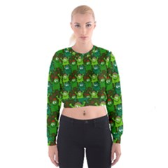 Seamless Little Cartoon Men Tiling Pattern Women s Cropped Sweatshirt